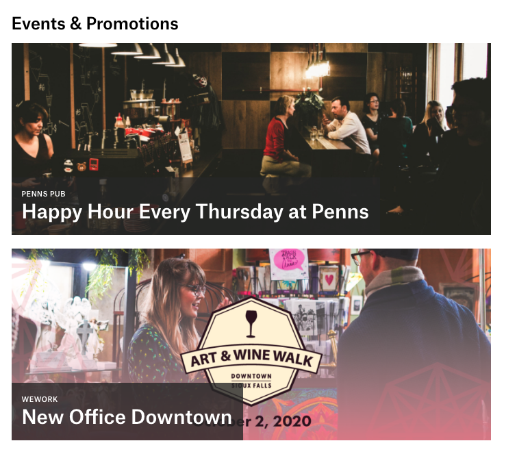 featured events and promotions